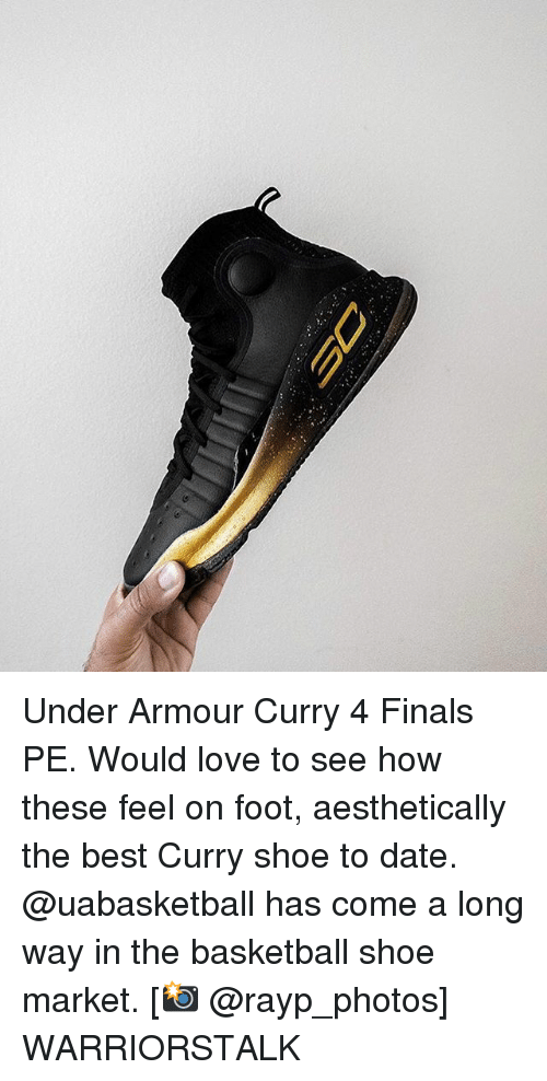 Basketball, Finals, and Golden State Warriors: Under Armour Curry 4 Finals PE. Would love to see how these feel on foot, aesthetically the best Curry shoe to date. @uabasketball has come a long way in the basketball shoe market. [📸 @rayp_photos] WARRIORSTALK