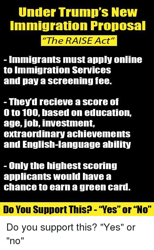 "Recieve: Under Trump's New  mmigration Propoal  The RAISE Act""  Immigrants must apply online  to Immigration ServIces  and pay a screening fee.  - Theyd recieve a score of  0 to 100, based on education,  age, job, investment,  extraordinary achievementS  and English-language ability  - Only the highest scoring  applicants would have a  chance to earn a green card.  Do You Support This? - ""Yes"" or ""No"" Do you support this?  ""Yes"" or ""no"""