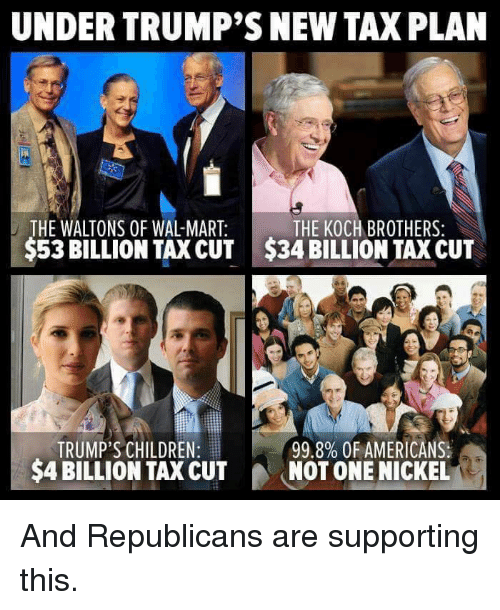 UNDER TRUMP'S NEW TAXPLAN THE WALTONS OF WAL-MART THE KOCH