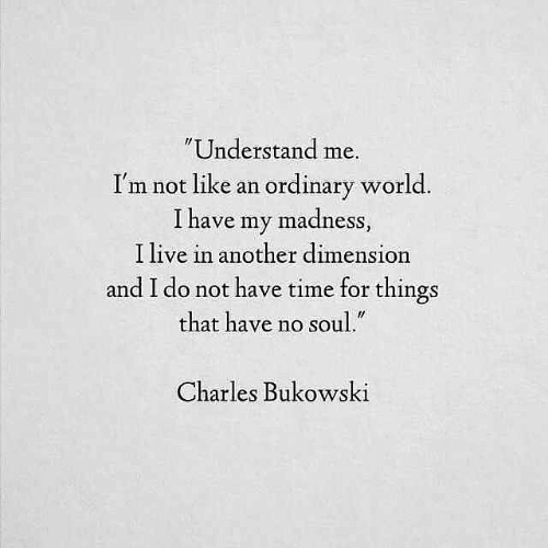 "madness: Understand me.  I'm not like an ordinary world  I have my madness  I live in another dimension  and I do not have time for things  that have no soul.""  Charles Bukowski"