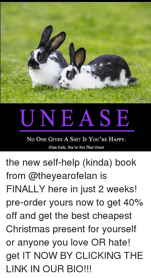 Christmas, Love, and Relationships: UNEASE  No ONE GIVES A SHIT IF YoU'RE HAPPY  -Elan Gale, You're Not That Great the new self-help (kinda) book from @theyearofelan is FINALLY here in just 2 weeks! pre-order yours now to get 40% off and get the best cheapest Christmas present for yourself or anyone you love OR hate! get IT NOW BY CLICKING THE LINK IN OUR BIO!!!