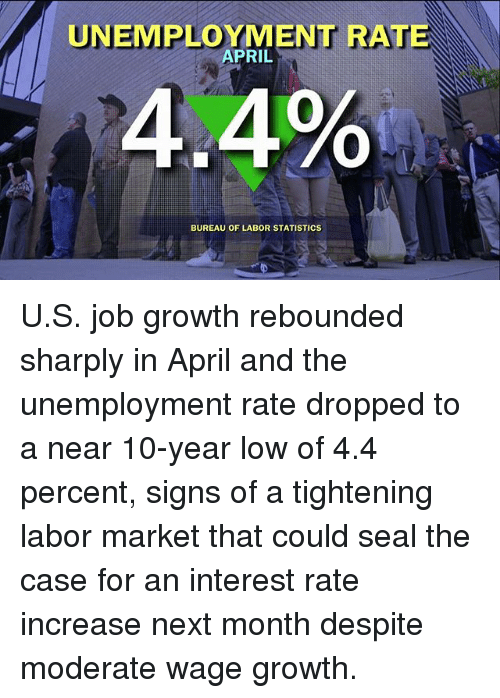 April: UNEMPLOYMENT RATE  APRIL  4.4%  BUREAU OF LABOR STATISTICS U.S. job growth rebounded sharply in April and the unemployment rate dropped to a near 10-year low of 4.4 percent, signs of a tightening labor market that could seal the case for an interest rate increase next month despite moderate wage growth.