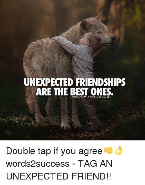 Unexpectable: UNEXPECTED FRIENDSHIPS  ARE THE BEST ONES. Double tap if you agree👊👌 words2success - TAG AN UNEXPECTED FRIEND!!