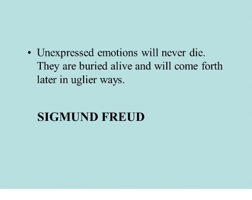 Sigmund Freud: Unexpressed emotions will never die.  They are buried alive and will come forth  later in uglier ways.  SIGMUND FREUD