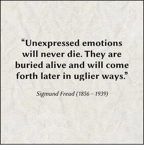 "Sigmund Freud: ""Unexpressed emotions  will never die. They are  buried alive and will come  forth later in uglier ways""  Sigmund Freud (1856 1939)"