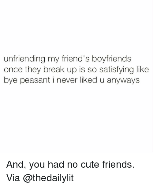 Unfriended, Girl Memes, and Peasant: unfriending my friend's boyfriends  once they break up is so satisfying like  bye peasant i never liked u anyways And, you had no cute friends. Via @thedailylit