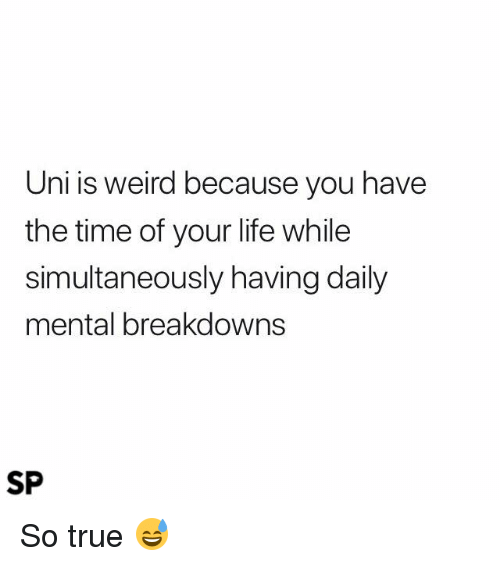 Life, True, and Weird: Uni is weird because you have  the time of your life while  simultaneously having daily  mental breakdowns  SP So true 😅