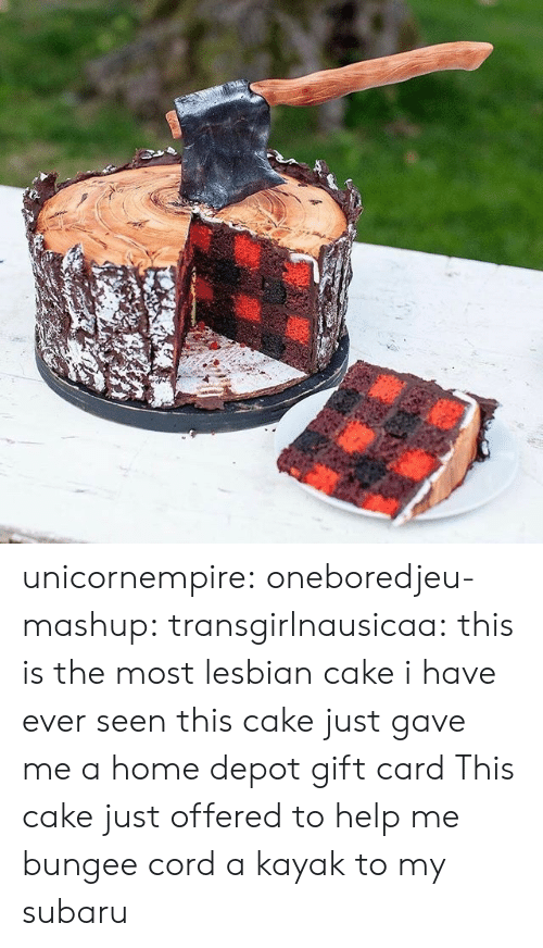 subaru: unicornempire:  oneboredjeu-mashup:  transgirlnausicaa: this is the most lesbian cake i have ever seen  this cake just gave me a home depot gift card  This cake just offered to help me bungee cord a kayak to my subaru