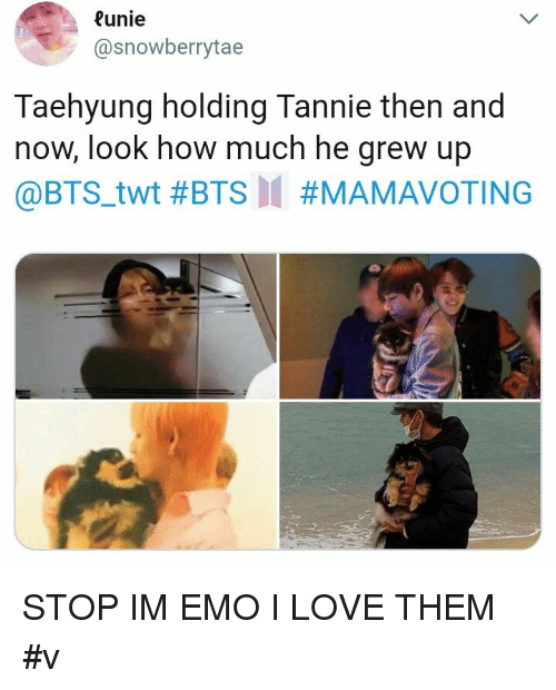 then and now: unie  @snowberrytae  Taehyung holding Tannie then and  now, look how much he grew up  @BTS.twt STOP IM EMO I LOVE THEM #v