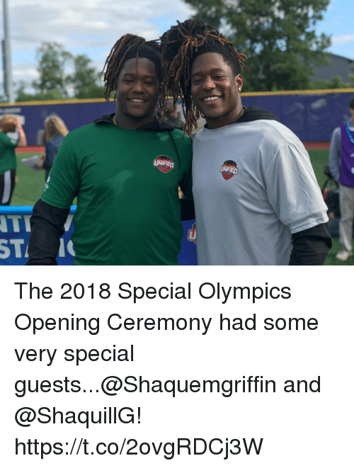 Memes, Olympics, and 🤖: UNIFIED  ST 1 The 2018 Special Olympics Opening Ceremony had some very special guests...@Shaquemgriffin and @ShaquillG! https://t.co/2ovgRDCj3W