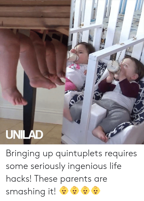 smashing: UNILAD Bringing up quintuplets requires some seriously ingenious life hacks! These parents are smashing it! 👶👶👶👶