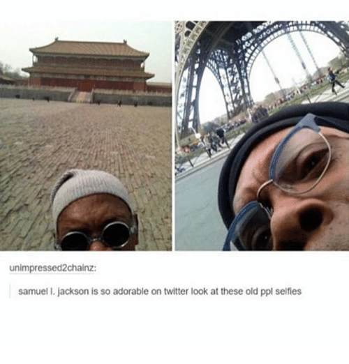 Ironic, Twitter, and Old: unimpressed2chainz:  samuel I. jackson is so adorable on twitter look at these old ppl selfies