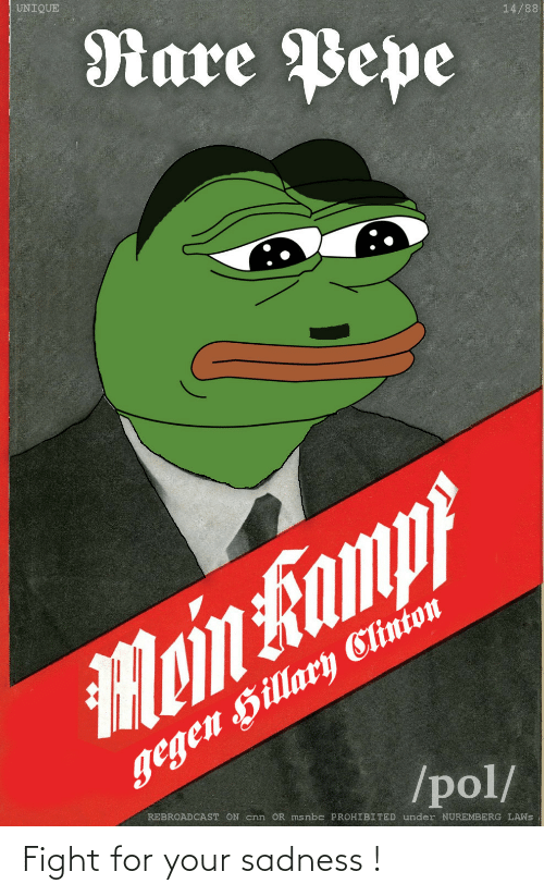 Rare Pepe: UNIQUE  Rare Pepe  14/88  gegen Hillary Clinion  /pol/  Moin Famp  REBROADCAST ON cnn OR msnbc PROHIBITED under NUREMBERG LAWS Fight for your sadness !
