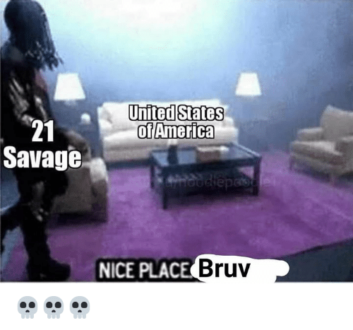 Bruv: United States  of America  21  Savage  NICE PLAC  E Bruv 💀💀💀