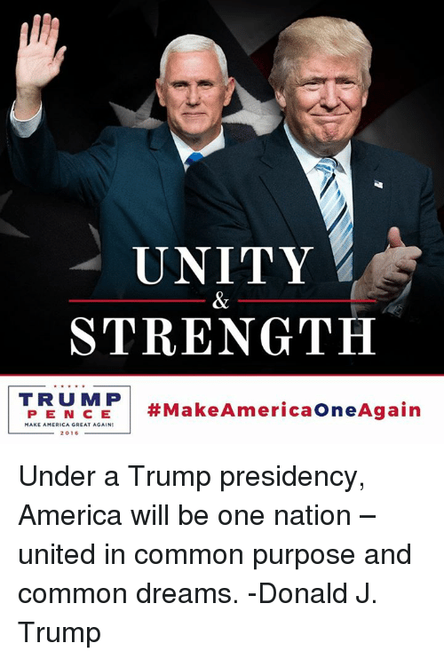 America, Dank, and Common: UNITY  STRENGTH  TRU MP  Make AmericaOneAgain  MAKE AMERICA GREAT AGAIN  2016 Under a Trump presidency, America will be one nation – united in common purpose and common dreams. -Donald J. Trump