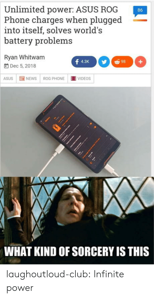 sorcery: Unlimited power: ASUS ROG  Phone charges when plugged  into itself, solves world's  battery problems  86  Ryan Whitwam  f  98  4.3K  +  Dec 5, 2018  NEWS  VIDEOS  ASUS  ROG PHONE  WHAT KIND OF SORCERY IS THIS laughoutloud-club:  Infinite power