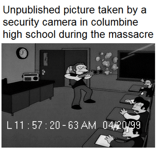 Columbine High School Shooting: Unpublished Picture Taken By A Security Camera In