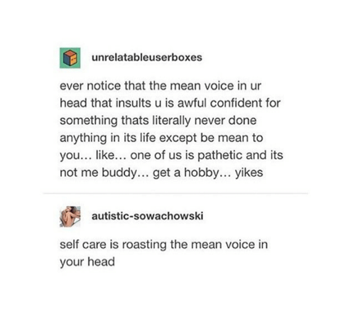 Head, Life, and Mean: unrelatableuserboxes  ever notice that the mean voice in ur  head that insults u is awful confident for  something thats literally never done  anything in its life except be mean to  you... like... one of us is pathetic and its  not me buddy... get a hobby... yikes  autistic-sowachowski  self care is roasting the mean voice in  your head