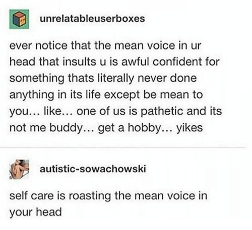 Not Me: unrelatableuserboxes  ever notice that the mean voice in ur  head that insults u is awful confident for  something thats literally never done  anything in its life except be mean to  you... like... one of us is pathetic and its  not me buddy.. get a hobby... yikes  autistic-sowachowski  self care is roasting the mean voice in  your head