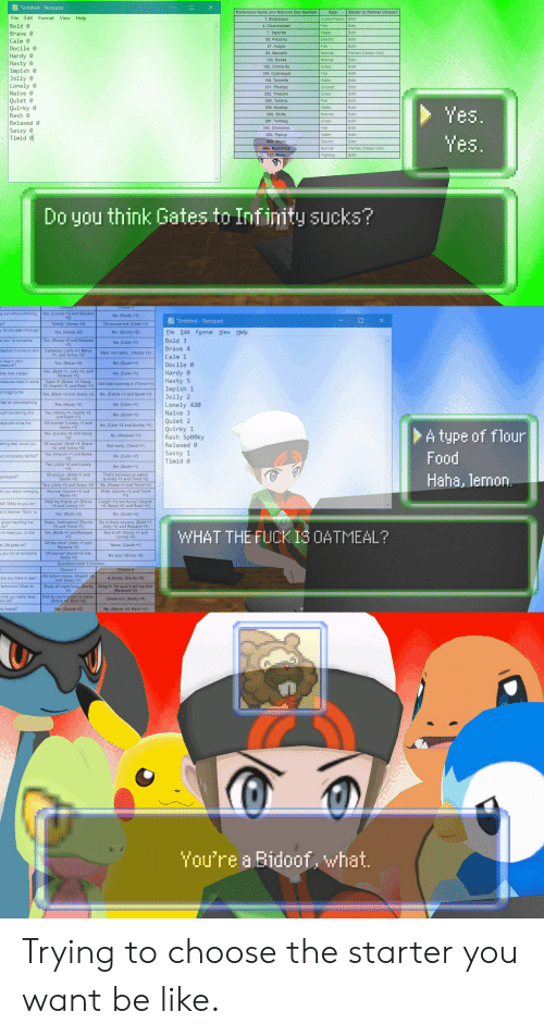 """bidoof: Untitled-Notepad  Pokémons Name and National Dex Number  Туре  Starter or Partner Choice?  File Edit Format View Help  Grass/Poison Both  1. Bulbasaur  Bold 0  4. Charmander  Fire  Both  7. Squirtle  Brave 0  Water  Both  Electric  25. Pikachu  Both  Calm 0  37. Vulpix  Fire  Both  Docile 0  52. Meowth  Normal  Partner Choice Only  Hardy  Hasty  Impish  Jolly 0  Lonely  132. Eevee  Normal  Both  152. Chikorita  Grass  Both  155. Cydnaquil  Fire  Both  158. Totodile  Water  Both  231. Phanpy  Ground  Both  Naive 0  252. Treecko  Grass  Both  Quiet0  Quirky  Rash 0  255. Torchic  Fire  Both  258. Mudkip  Water  Both  Yes.  300. Skitty  Normal  Both  387. Turtwig  Grass  Both  Relaxed 0  390. Chimchar  Fire  Both  Sassy  Both  393. Piplup  Water  Yes.  Timid  403. Shinx  Electric  Both  Normal  Partner Choice Only  446. Munchlax  447 Riolu  Fighting  Both  think Gates to  Do you  Infinity sucks?  Choice  Choice 2  g out without thinking  Yes. (Lonely +2 and Relaxed  +2)  No. (Hardy +1)  Untitled - Notepad  ay?  Totally! (Sassy +2)  Of course not (Calm +1)  , do you see it through  File Edit Format View Help  Yes. (Hardy +2)  No. (Quirky +2)  Bold 3  et you"""" to someone  Yes. (Brave +2 and Relaxed  +1)  No.(Calm +1)  Brave 4  eflection in a mirror and  Certainly! (Jolly +1, Naive  +1, and Sassy+2)  Well, not really... (Hardy +1)  Calm 1  u dug in your  treasure?  Yes.(Naive +2)  No. (Quiet+1)  Docil  Hardy  Hasty 5  Impish 1  Jolly 2  Lonely 420  Naive 3  Yes. (Bold +1, Jolly +2, and  Relaxed +1)  ther than inside?  No. (Calm +1)  Open it! (Brave +2, Hasty  +2, Impish +2, and Rash +1) Get help opening it. (Timid +1)  treasure chest in some  e hogging the  No. (Docile+1 and Quiet +1)  Yes. (Rash +2 and Sassy +2)  feel an overwhelming  Yes. (Hasty +2)  No. (Calm +1)  Yes. (Hasty+1, Quirky +2,  and Rash +1)  ught something and  No.(Quiet+1)  Quiet 2  Quirky 1  Rash 5p00ky  Of course! (Lonely +1 and  Sassy +1)  Yes. (Lonely +2 and Sassy  +2)  ays aim to be the  No. ("""