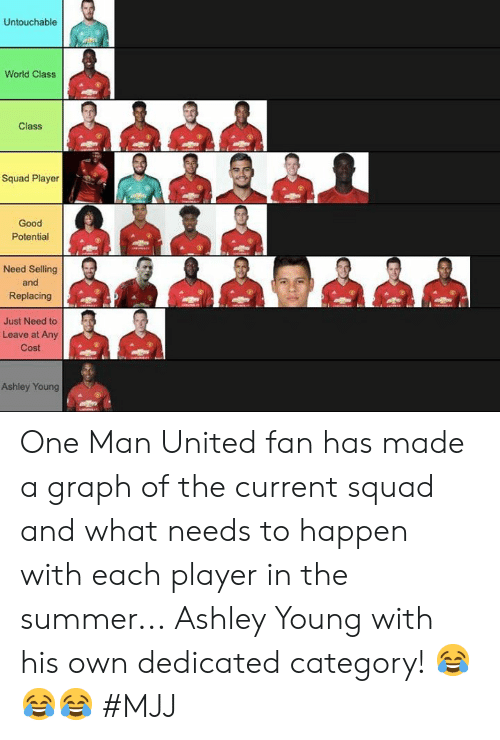 Graph: Untouchable  World Class  Class  Squad Player  Good  Potential  Need Selling  and  Replacing  總de 煦色,碧總色煦  Just Need to  Leave at Any  Cost  Ashley Young One Man United fan has made a graph of the current squad and what needs to happen with each player in the summer...  Ashley Young with his own dedicated category! 😂😂😂   #MJJ