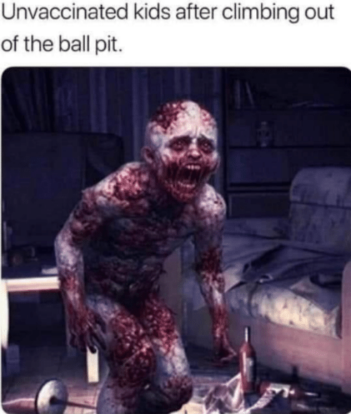 Climbing: Unvaccinated kids after climbing out  of the ball pit.