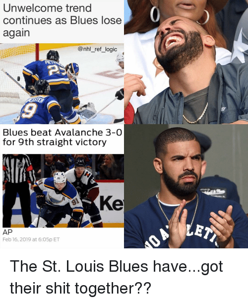 National Hockey League (NHL): Unwelcome trend  continues as Blues lose  again  @nhl_ref_logic  19  Blues beat Avalanche 3-0  for 9th straight victory  91  Ke  AP  Feb 16, 2019 at 6:O5p ET The St. Louis Blues have...got their shit together??