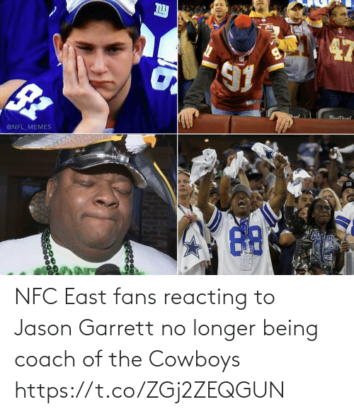 nfc: uol  FanDuel  @NFL_MEMES NFC East fans reacting to Jason Garrett no longer being coach of the Cowboys https://t.co/ZGj2ZEQGUN