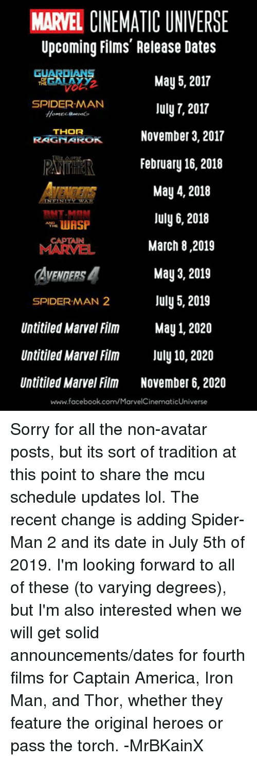 Marvel Release Dates Changed: Upcoming Films Release Dates May 5 2017 SPIDERMAN July 7