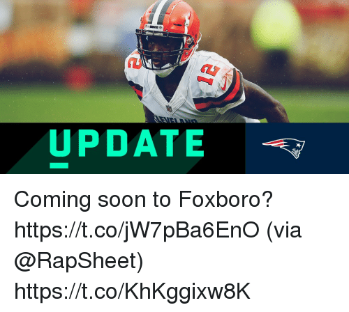 Memes, Soon..., and 🤖: UPDATE Coming soon to Foxboro? https://t.co/jW7pBa6EnO (via @RapSheet) https://t.co/KhKggixw8K