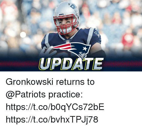 Memes, Patriotic, and Gronkowski: UPDATE Gronkowski returns to @Patriots practice: https://t.co/b0qYCs72bE https://t.co/bvhxTPJj78