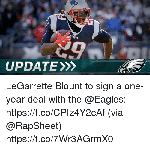 Blount: UPDATE LeGarrette Blount to sign a one-year deal with the @Eagles: https://t.co/CPIz4Y2cAf (via @RapSheet) https://t.co/7Wr3AGrmX0