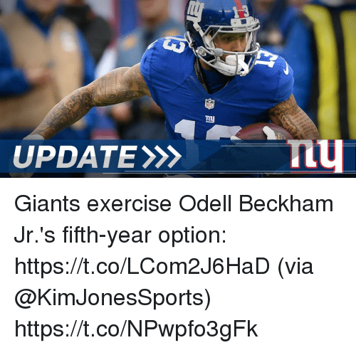 Memes, Nfl, and Odell Beckham Jr.: UPDATE  NFL  my Giants exercise Odell Beckham Jr.'s fifth-year option: https://t.co/LCom2J6HaD (via @KimJonesSports) https://t.co/NPwpfo3gFk