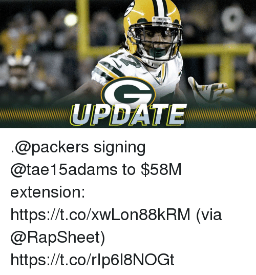 Memes, Packers, and 🤖: UPDATE .@packers signing @tae15adams to $58M extension: https://t.co/xwLon88kRM (via @RapSheet) https://t.co/rIp6l8NOGt