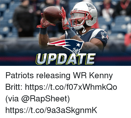 Memes, Patriotic, and 🤖: UPDATE Patriots releasing WR Kenny Britt: https://t.co/f07xWhmkQo (via @RapSheet) https://t.co/9a3aSkgnmK
