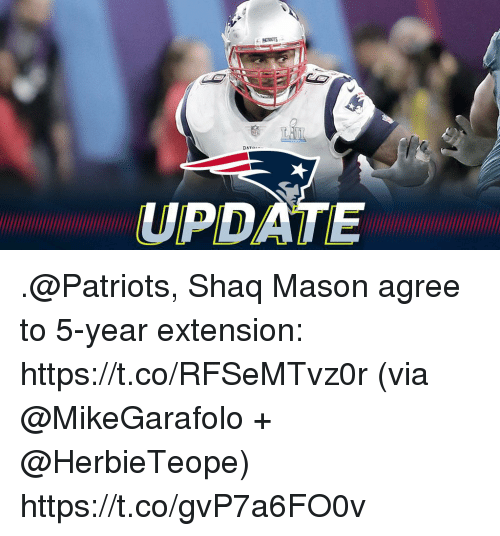 Memes, Patriotic, and Shaq: UPDATE .@Patriots, Shaq Mason agree to 5-year extension: https://t.co/RFSeMTvz0r (via @MikeGarafolo + @HerbieTeope) https://t.co/gvP7a6FO0v