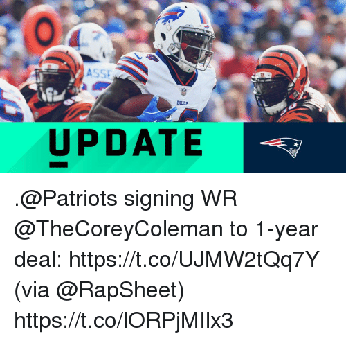 Memes, Patriotic, and 🤖: UPDATE .@Patriots signing WR @TheCoreyColeman to 1-year deal: https://t.co/UJMW2tQq7Y (via @RapSheet) https://t.co/lORPjMIlx3