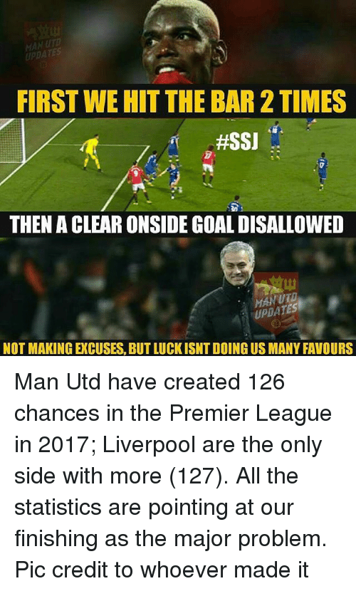 Memes, Premier League, and Liverpool F.C.: UPDATES  FIRST WEHIT THE BAR 2 TIMES  #SSJ  THEN A CLEAR ONSIDEGOAL DISALLOWED  UPDATES  NOT MAKING EXCUSES,BUTLUCKISNTDOING US MANY FAVOURS Man Utd have created 126 chances in the Premier League in 2017; Liverpool are the only side with more (127). All the statistics are pointing at our finishing as the major problem. Pic credit to whoever made it