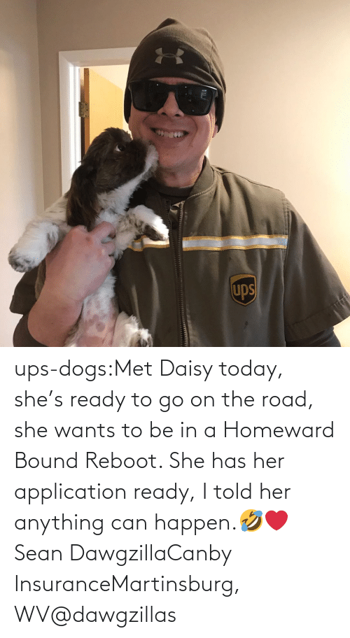 insurance: ups-dogs:Met Daisy today, she's ready to go on the road, she wants to be in a Homeward Bound Reboot. She has her application ready, I told her anything can happen.🤣❤️ Sean DawgzillaCanby InsuranceMartinsburg, WV@dawgzillas