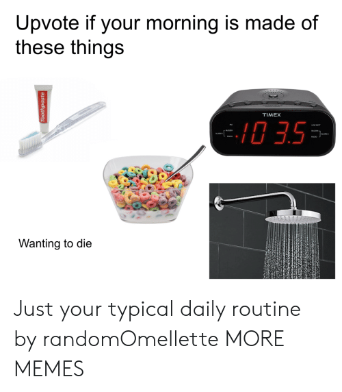 Wanting To Die: Upvote if your morning is made of  these things  TIMEX  0 3.5  ALARM 2  RADIO .  Wanting to die Just your typical daily routine by randomOmellette MORE MEMES