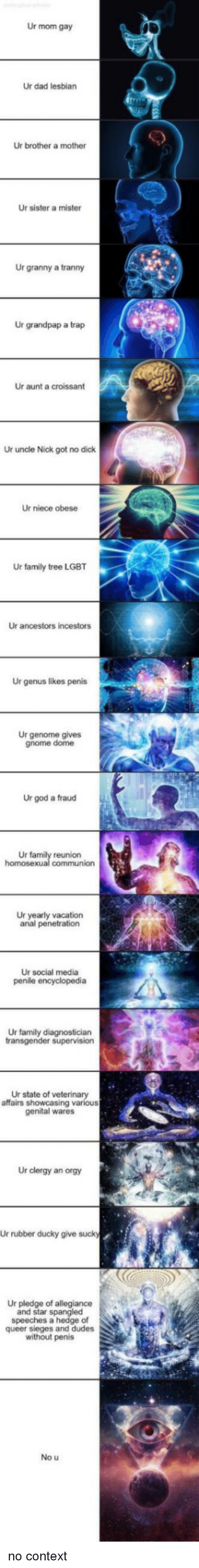 Pledge of Allegiance: Ur mom gay  Ur dad lesbian  Ur brother a mother  Ur sister a mister  Ur granny a tranny  Ur grandpap a trap  Ur aunt a croissant  Ur uncle Nick got no dick  Ur niece obese  Ur family tree LGBT  Ur ancestors incestors  Ur genus likes penis  Ur genome gives  gnome dome  Ur god a fraud  Ur  reunion  Ur yearly vacation  anal penetration  Ur social media  Ur family diagnostician  Ur state of veterinary  affairs showcasing various  genital wares  Ur clergy an orgy  Ur rubber ducky give suck  Ur pledge of allegiance  and star spangled  speeches a hedge of  queer sieges and dudes  without penis  No u no context