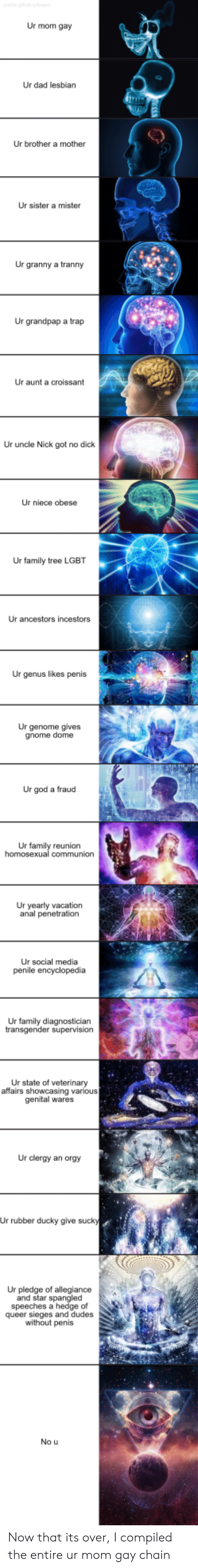 Pledge of Allegiance: Ur mom gay  Ur dad lesbian  Ur brother a mother  Ur sister a mister  Ur granny a tranny  Ur grandpap a trap  Ur aunt a croissant  Ur uncle Nick got no dick  Ur niece obese  Ur family tree LGBT  Ur ancestors incestors  Ur genus likes penis  Ur genome gives  gnome dome  Ur god a fraud  Ur family reunion  Ur yearly vacation  anal penetration  Ur social media  Ur family diagnosticiarn  Ur state of veterinary  affairs showcasing various  genital wares  Ur clergy an orgy  Ur rubber ducky give suck  Ur pledge of allegiance  and star spangle  speeches a hedge of  queer sieges and dudes  without penis  No u Now that its over, I compiled the entire ur mom gay chain