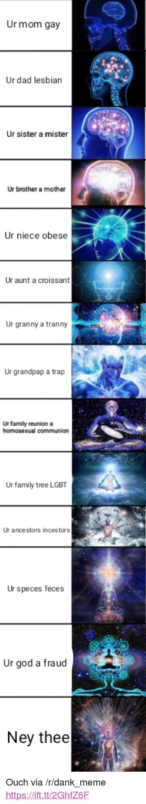 "Dad, Dank, and Family: Ur mom gay  Ur dad lesbian  Ur sister a mister  Ur brother am  other  Ur niece obese  Ur aunt a croissant  Ur granny a tranny  Ur grandpap a trap  Urfamily reunion a  Ur family tree LGBT  Ur ancestors incestors  Ur speces feces  Ur god a fraud  Ney thee <p>Ouch via /r/dank_meme <a href=""https://ift.tt/2GhfZ6F"">https://ift.tt/2GhfZ6F</a></p>"