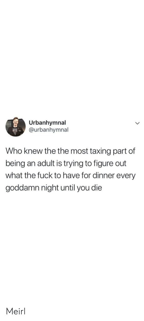 Being an adult: Urbanhymnal  @urbanhymnal  Who knew the the most taxing part of  being an adult is trying to figure out  what the fuck to have for dinner every  goddamn night until you die Meirl