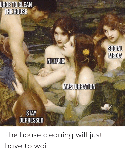 House Cleaning: URGE TO!CLEAN  THE HOUSE  SOCIAL  MEDIA  NETFLIX  MASTURBATION  STAY  DEPRESSED The house cleaning will just have to wait.