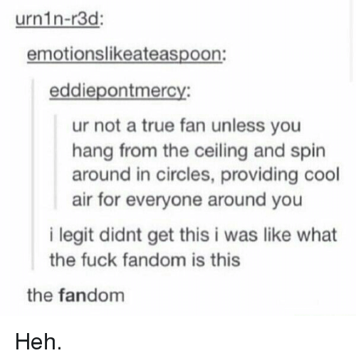 True, Cool, and Fuck: urnin-r3d  emotionslikeateaspoon:  eddiepontmercy:  ur not a true fan unless you  hang from the ceiling and spin  around in circles, providing cool  air for everyone around you  i legit didnt get this i was like what  the fuck fandom is this  the fandom Heh.