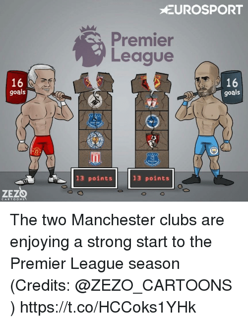 Goals, Memes, and Premier League: UROSPORT  Premier  League  16  goals  16  goals  Ever tm  13 points  13 points  ZEZO  CARTOONS The two Manchester clubs are enjoying a strong start to the Premier League season (Credits: @ZEZO_CARTOONS ) https://t.co/HCCoks1YHk