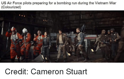 Star Wars, Air Force, and Vietnam: US Air Force pilots preparing for a bombing run during the Vietnam War  (Colourized) Credit: Cameron Stuart