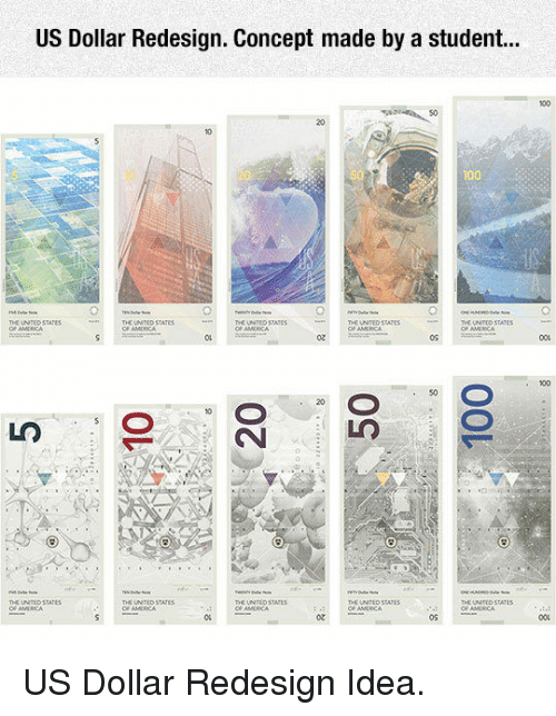us dollar: US Dollar Redesign. Concept made by a student...  100  S0  20  20  SUNTEO STATEs  THC LNTCD  се маха  DE UNTEO  THE UN  ATEO STATES  F ANURICA  2  0S  001  100  50  20  THE UNITED STATLS  THE UNITLD STATES  THE UNTEOD STATES  THE UNITID STATES  0u  o2  os <p>US Dollar Redesign Idea.</p>