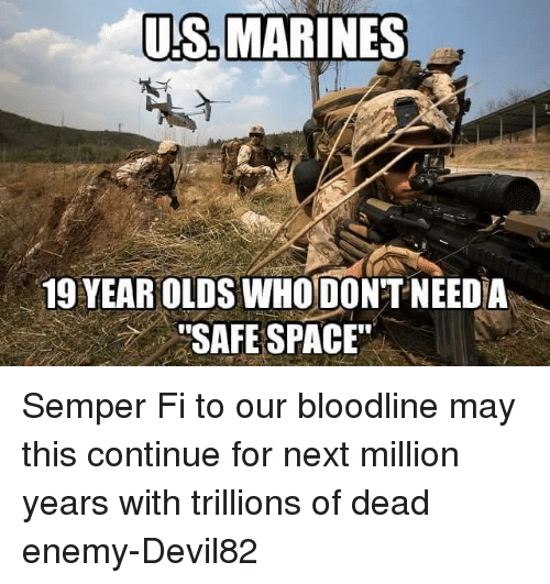 """semper fi: US MARINES  19 YEAR OLDS WHODONTNEED A  """"SAFE SPACE"""" Semper Fi to our bloodline may this continue for next million years with trillions of dead enemy-Devil82"""